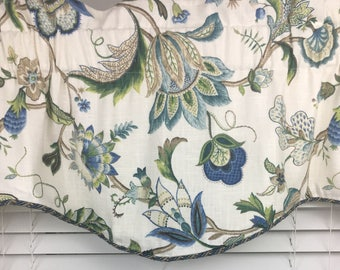 Blue window valance, Top curtain, Scalloped corded valance, Decorative fabric valance, Blue window curtain, Professionally made curtains a