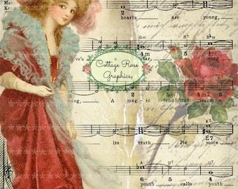 Victorian Valentine vintage  Lady in red dress Large digital download ECS buy 3 get one free Printable  ECS
