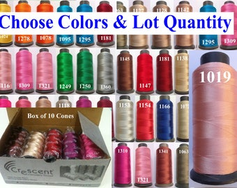 10 CRESCENT Rayon Viscose Silk Embroidery Thread Embroidery Machine Thread 2500 Meters 80 grams Each Cone.Choose your Favourite Colours