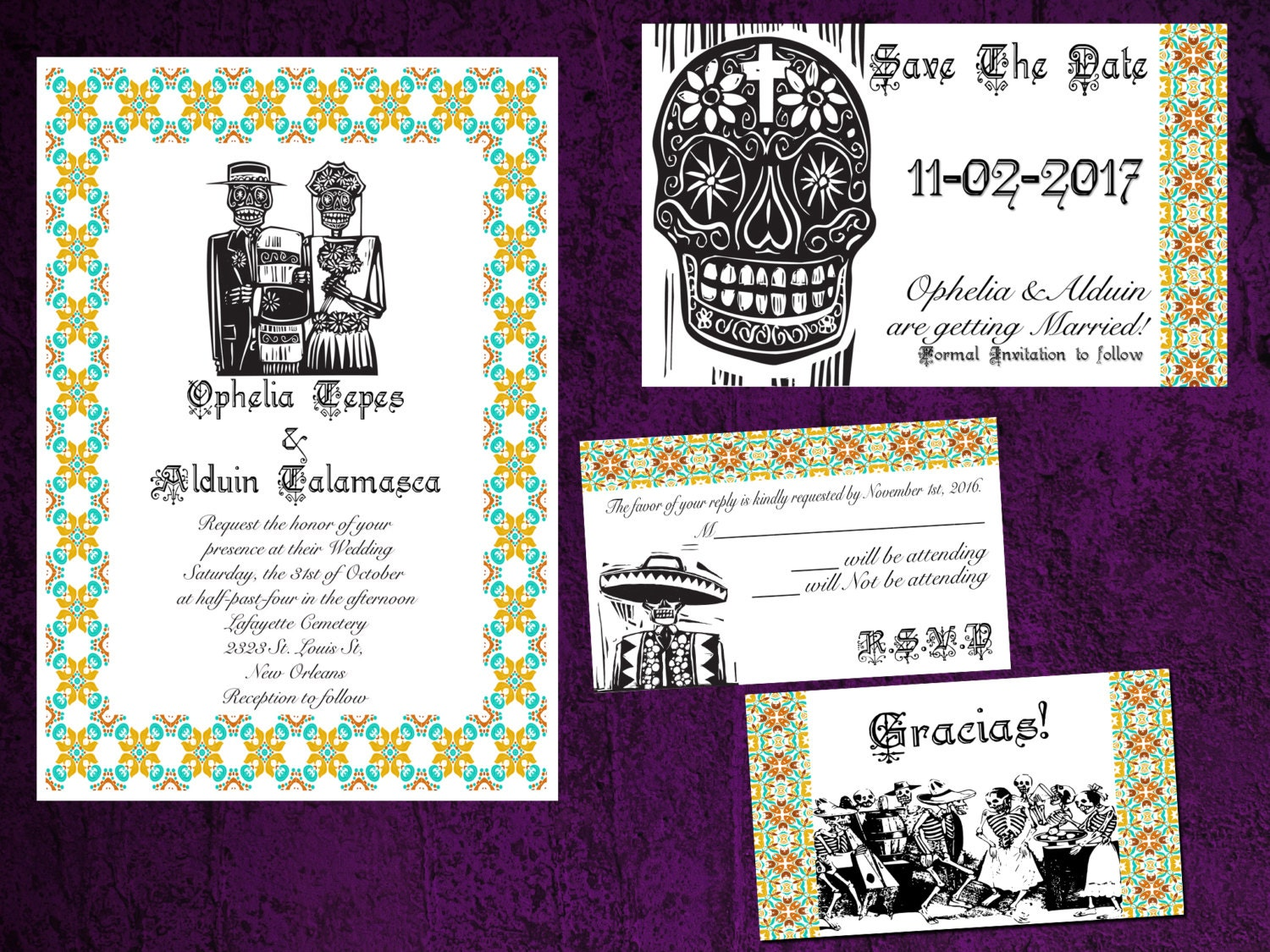 Los Novios Mexican Day of the Dead Wedding Invitation Save