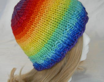 Bright and Wooly Rainbow beanie stripes hand knit hand dyed colorful hat