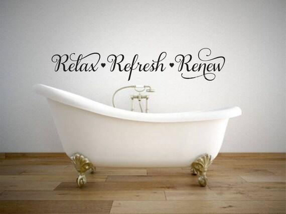 Relax Refresh Renew Decal Bathroom Wall Sticker Spa Decor Vinyl Letters  Home Elegant Fancy Script Heart Decals Hair Salon Decals Facials Spa