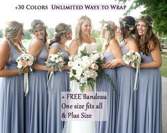 Dusty Blue Bridesmaid Dress  infinity dress, periwinkle convertible Infinity Dress, Dusty Blue Prom Dresses, Party Dress, Maternity Dress