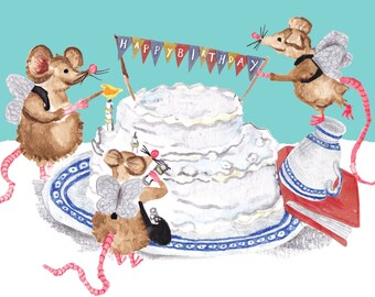 HAPPY BIRTHDAY Card, Fairy mice