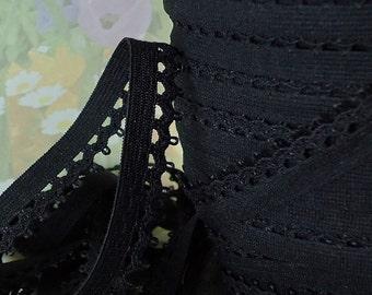 "5yd Elastic Black Picot Trim 1/2"" inch Stretch Scallop Rick Rack Elastic diy Little baby crown Headband Sewing lingerie bra making Elastic"