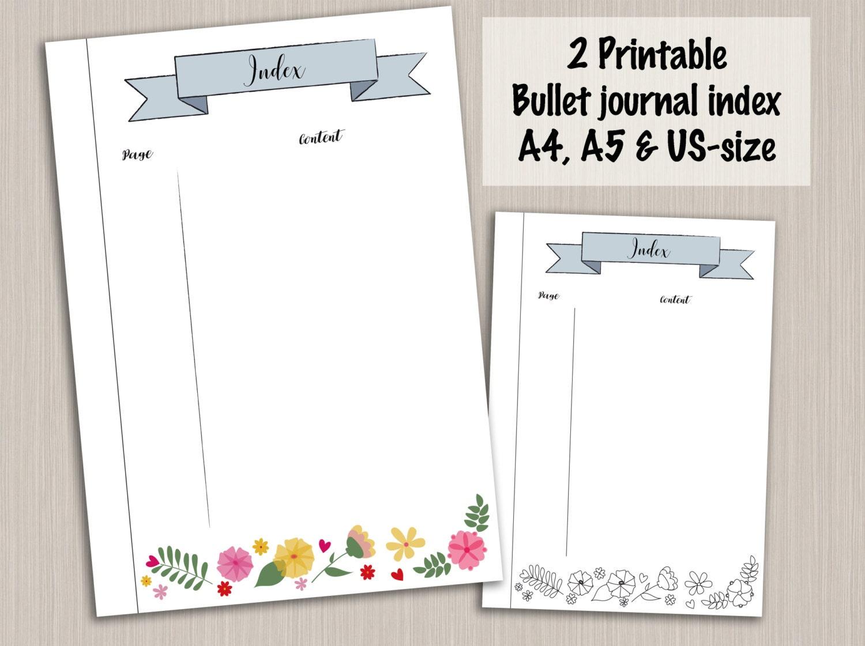 Bullet journal index template bullet journal pages digital