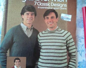 Leisure Arts Leaflet 265 Knitted Raglans for Men 7 Classic Designs