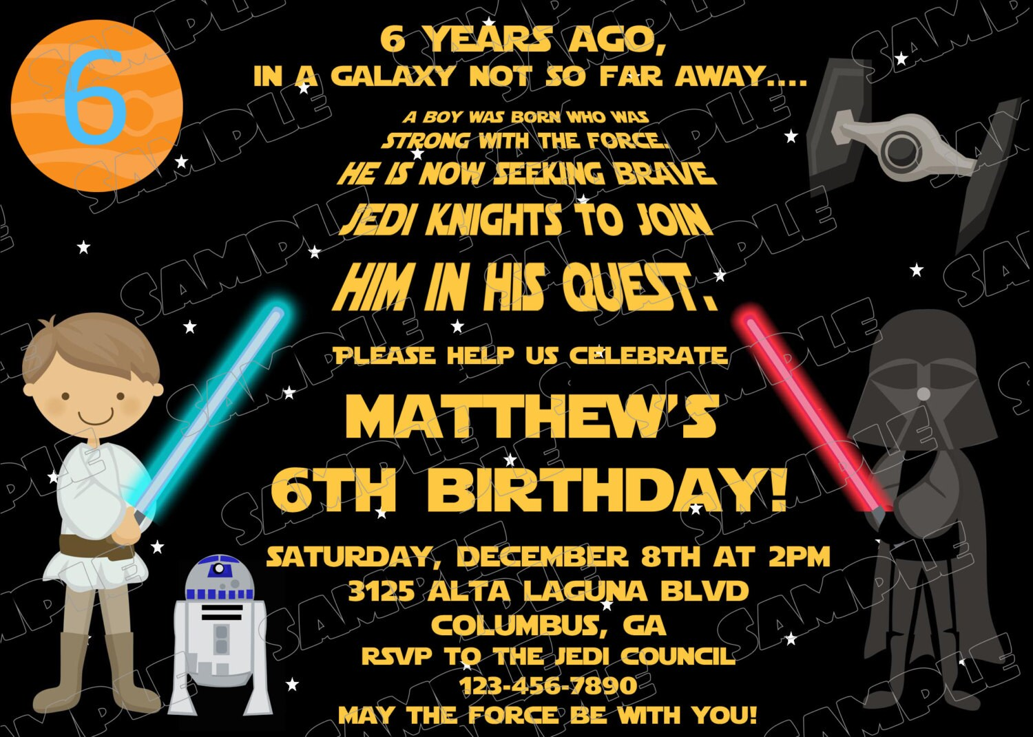Star wars scroll birthday party printable invitations uprint star wars scroll birthday party printable invitations uprint customized card by greenmelonstudios filmwisefo Images