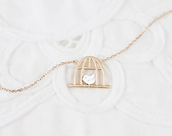 Birdcage Charm Necklace Rose Gold Birdcage Pendant Necklace Dainty and Delicate Everyday Necklace
