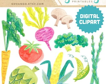VEGETABLES Digital Clipart Instant Download Illustration Stock Art Watercolor Kitchen Decor Wall Gallery Corn Tomato Carrot Farmer Garden