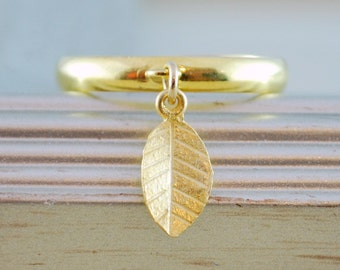 Gold Stacking Ring, Gold Plated Brass, Tiny Vermeil Leaf, Adjustable Size, Minimalist Jewelry