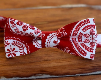 Christmas bow tie - men's red white holiday bow tie - men's dresswear - mens party bow tie - mens novelty tie - men's custom tie - bowtie