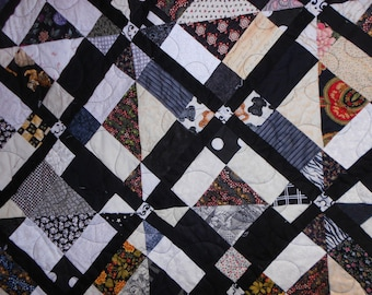 Double Bed Quilt / Full size bed quilt  Black white Scrappy 30
