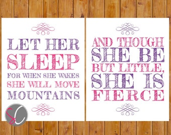 Let Her Sleep She Will Move Mountains Fierce Pink Purple Nursery Toddler Wall Art 8x10 Digital JPG Files (228)
