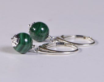 Malachite Earrings Simple Round Shape Drop Wire Wrapped Sterling Silver Minimalist Earrings For Her