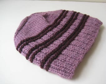 lavender and maroon wool knit hat