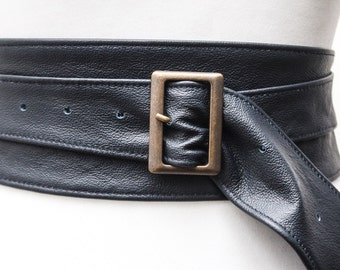 Navy Blue Leather Obi Buckle Belt | Navy Blue Belt | Corset Obi Belt | Leather Buckle Belt | Plus Size Belts