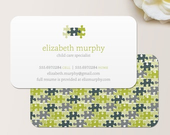 Puzzle Pieces Business Card / Calling Card / Mommy Card / Contact Card - Teacher, Substitute Teacher, Tutor, Instructor, Childcare, Daycare
