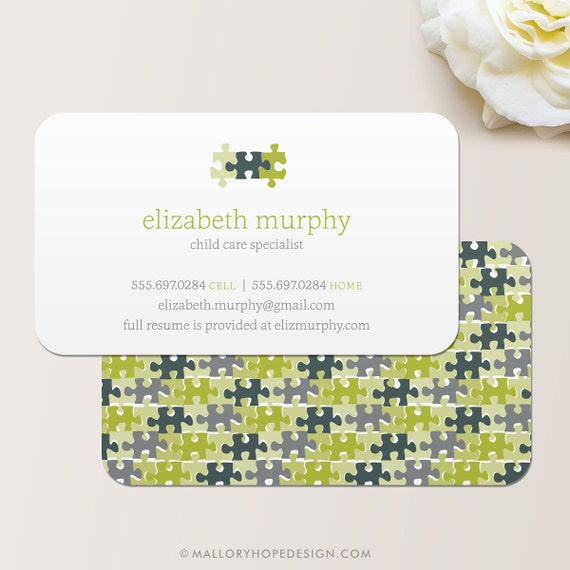 Beautiful Puzzle Pieces Business Card / Calling Card / Mommy Card / PC23