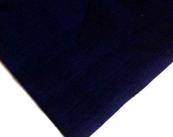 Indian Silk Fabric - Pure Silk Dupioni - Raw Mulberry Silk - Navy Blue Raw Silk - Indian Dupioni Silk -Dupioni Silk