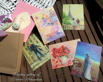 Postcards Love Lovers Postcards with painting Collectible postcards Original painting Bright painting Oil on canvas Best present  For her