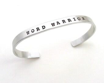 Word Warrior: Writer Cuff Bracelet with Adjustable Fit, Minimalist, Modern Style in Aluminum for Editor, Teacher, Writer