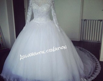 Long sleeves lace wedding dress handmade
