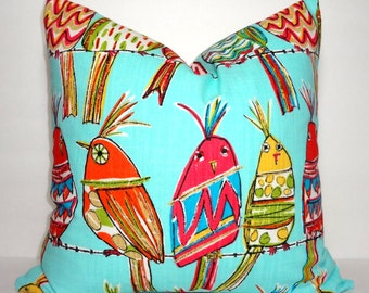 Colorful Fun Bird Owl Print Aqua Red Yellow Orange Grey Bird  Pillow Cover Throw Pillow Cover 8 Prints & Colors 18x18