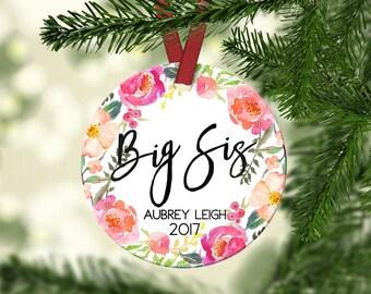 Big Sister Christmas Ornament.Promoted To Big Sister.Christmas ornament.Personalized christmas ornament.Sister Gift.