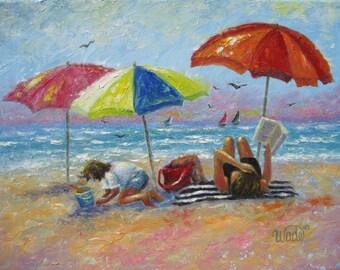 Beach Art Print, mother and daughter beach, beach girls, beach decor, beach painting, beach umbrellas, reading at beach, Vickie Wade art