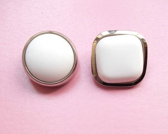 2 large buttons white and silver acrylic round 30 mm