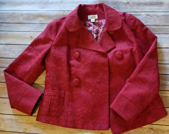 Red Brocade Jacket Blazer. Retro Vintage 1930s 1940s Style. Pinup. Wedding. Engagement. Bridal. Mother of the Bride. Grace Kelly Style. Boho