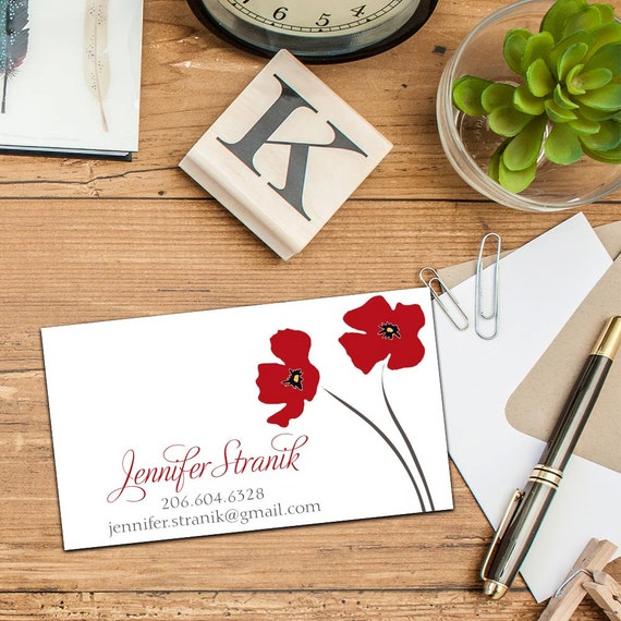 Poppy Blossom Calling Card, Business Cards, Set of 50 or 100 Cards