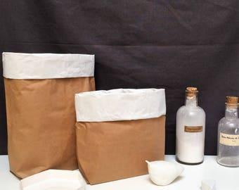 NOUVEAU ! Sac kraft de rangement, Paper Bag Taille S - Ecru intérieur blanc à customiser