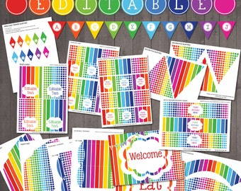 EDITABLE Rainbow Party Decorations - PRINTABLE Rainbow Party Pack - Happy Birthday, Rainbow Baby Shower, Welcome Home - Instant Download