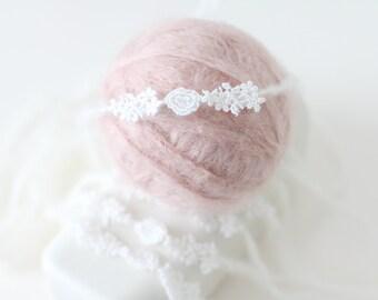 Newborn headband -  Props headband - Baby girl headband - Newborn hair - Newborn baby girl - Props headband - Newborn tieback -Lace headband