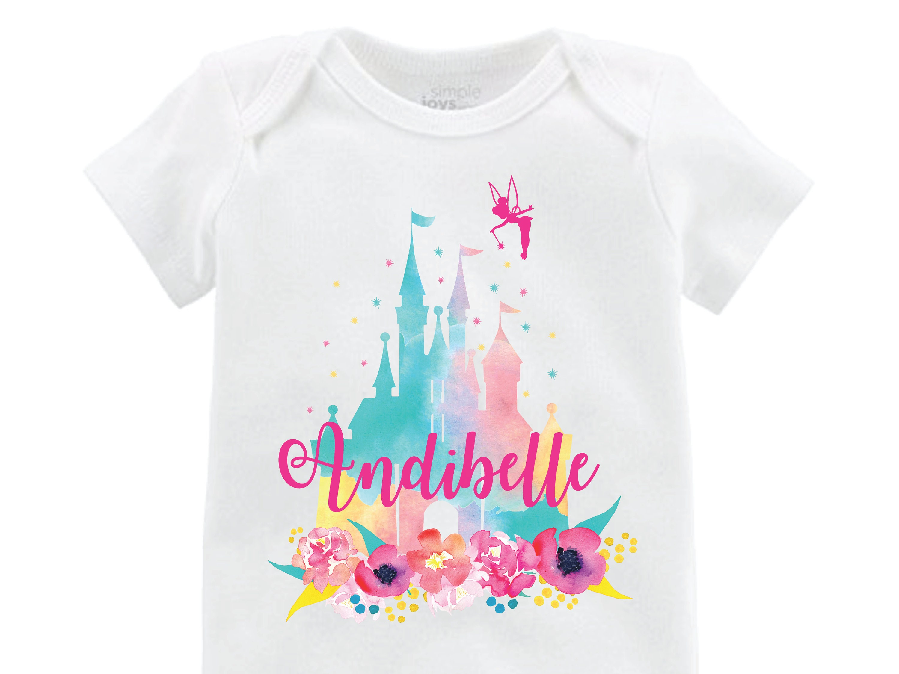 Happy Birthday Disney Castle Tee ALL AGEs ANY NAME PERSONALISED Top Babysuit T Shirts