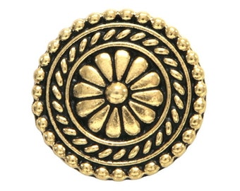 2 TierraCast Bali 11/16 inch ( 18 mm ) Gold Plated Pewter Buttons