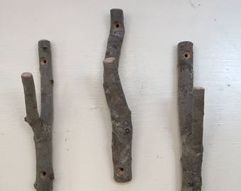 Rustic twig hooks.  Bundle of 3.