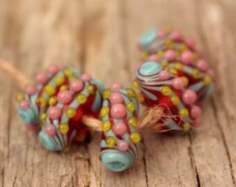 Mini Pods- A set of 6 lampwork beads