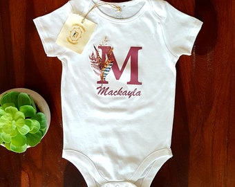 M Letter Monogram, Custom, Personalized Shirt, Name, T-Shirt, Tank Top, Coming Home Outfit, Mommy and Me Outfit, Birthday, Baby Shower