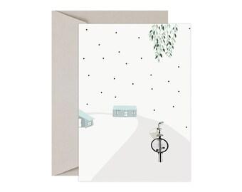 Illustration postcard, bike, path