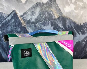 Large Waterproof Bicycle Handlebar Bag / Purse with Holographic Trim