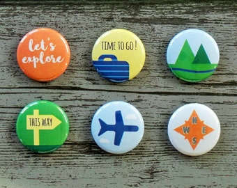Time To Go Travel Flair Buttons, Scrapbooking Flair Badges, Flat Back Flair, Travel Flair, Vacation Flair, Adventure, Pocket Scrapbooking