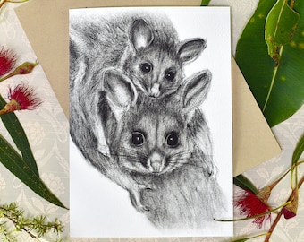 Brushtail possums greeting card with envelope, A6 print of original charcoal drawing, Australian wildlife art
