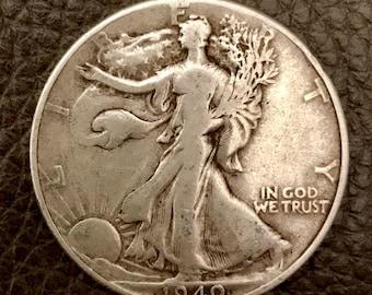 1940 Walking Liberty Silver Half Dollar 90% Silver.  #W005