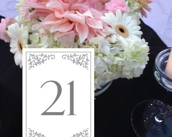 Flourish Table Numbers, Formal Table Numbers, Gray/Silver Table Numbers, Wedding Table Numbers, Instant Download Numbers 1 - 50