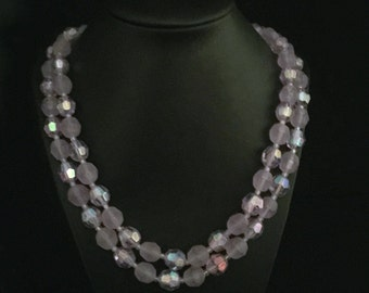 60's 2 Strand Purple Iridescent Bead Necklace                VG1874