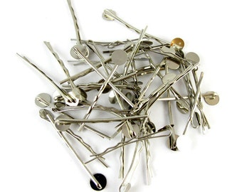 Bobby Pins with Glue Pad - Silver Tone - 45mm - 20 pieces SC003