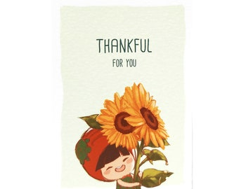 Thankful Card (Sunflower) / Cute Character Flower Greeting Thank You Illustration Card